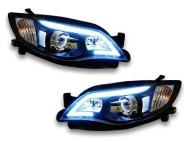 DRL Projector Head Lights for Subaru Impreza WRX  STI  RS - Black (2008 - 2013 Models) - Spoilers And Bodykits Australia