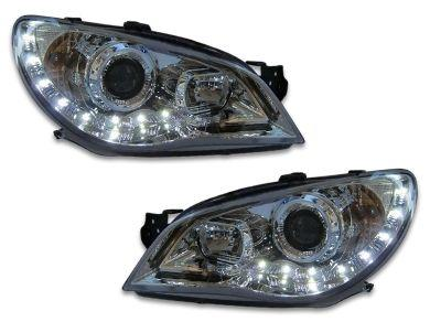 DRL Projector Head Lights for Subaru Impreza WRX  STI  RX - Chrome (2005 - 2007 Models) - Spoilers And Bodykits Australia