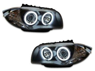 LED Angel Eye HALO Projector Head Lights for BMW E81  E82  E87  E88 - Black (2004 - 2011 Models) - Spoilers And Bodykits Australia