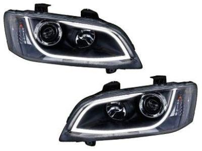 DRL Head Lights for VE Holden Commodore Series 1 with LED Strip - Black (2006 - 2010 Models) - Spoilers and Bodykits Australia