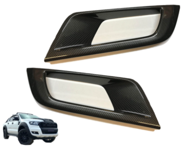 Fog Light Covers for PX 2 Ford Ranger - WILDTRAK ONLY - Carbon Fibre Finish (2015 - 2018) - Spoilers and Bodykits Australia