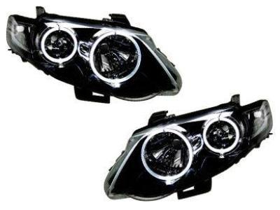 Head Lights for FG Ford Falcon Mark 1 XR6 / XR8 Angel Eye HALO Style - Black (02/2008 - 08/2011 Models) - Spoilers and Bodykits Australia