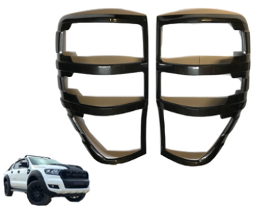 Rear Tail Light Covers for PX1 / PX2 / PX3 Ford Ranger - Carbon Fibre Finish (2012 - 2019 Models) - Spoilers and Bodykits Australia