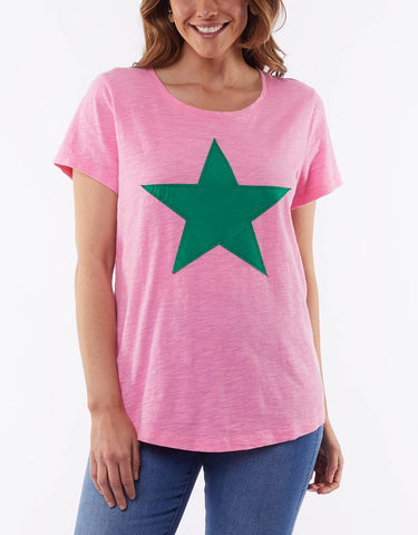 ELM STARRY EYED TEE - BUBBLEGUM/GREEN