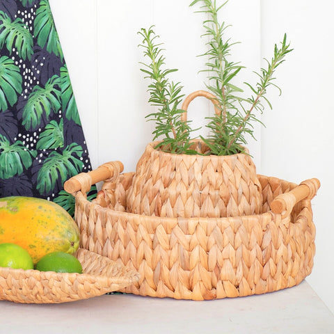 ROUND BASKET – WATER HYACINTH