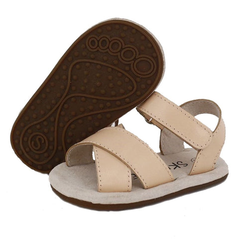 Skeanie Cross Leather Sandals Camel