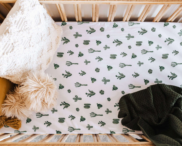 SNUGGLE HUNNY CACTUS FITTED COT SHEET