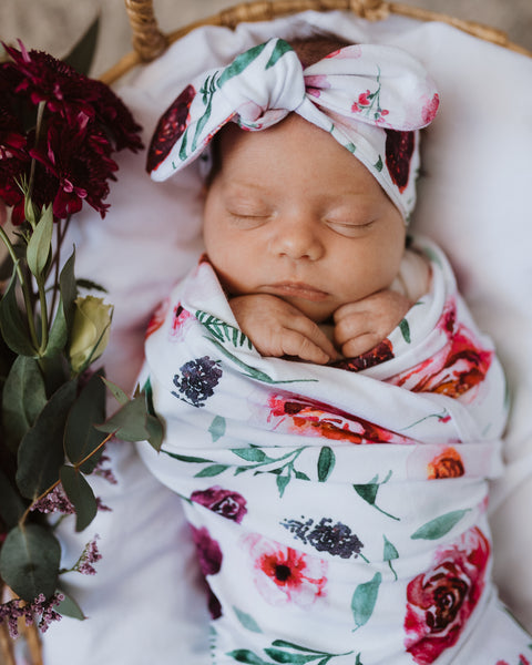SNUGGLE HUNNY PEONY BLOOM BABY JERSEY WRAP & TOPKNOT SET