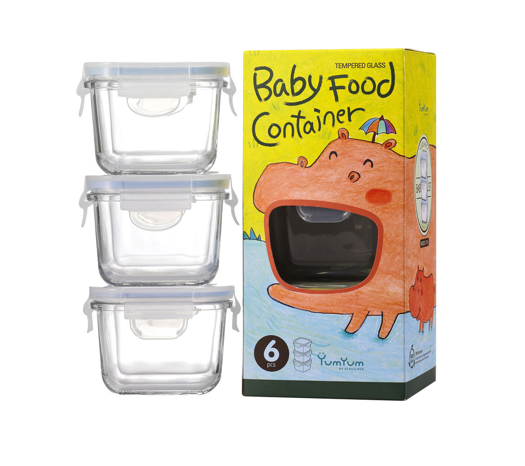 GLASSLOCK SQUARE BABY FOOD CONTAINER SET OF 3