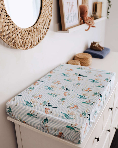 SNUGGLE HUNNY WHALE BASSINET SHEET/CHANGE PAD COVER