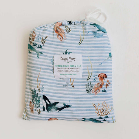 SNUGGLE HUNNY WHALE FITTED COT SHEET
