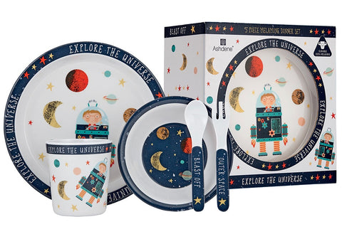 Blast Off 5 Piece Kids Dinner Set