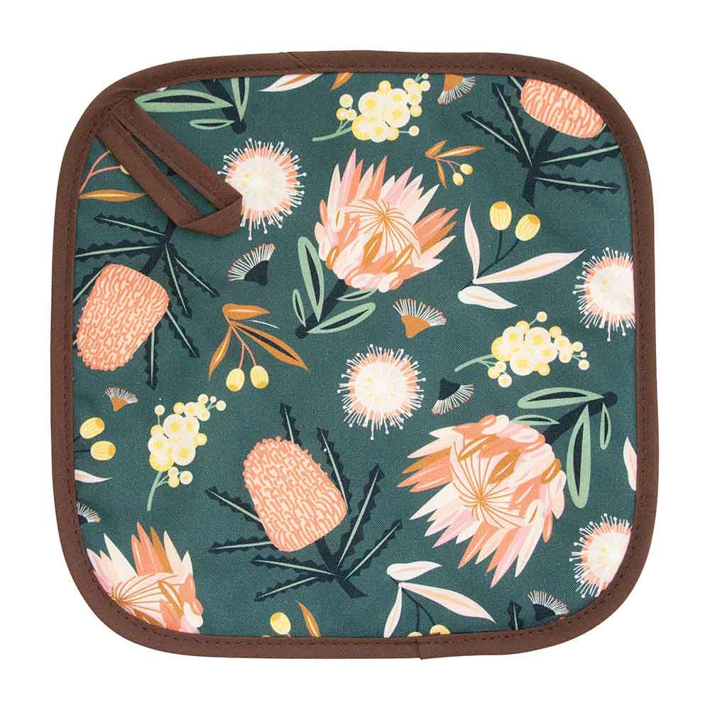 AUSSIE FLORA KHAKI POT HOLDER