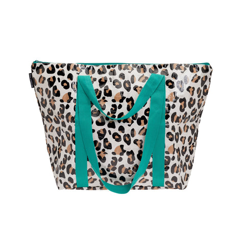 LEOPARD ZIP UP MEDIUM TOTE