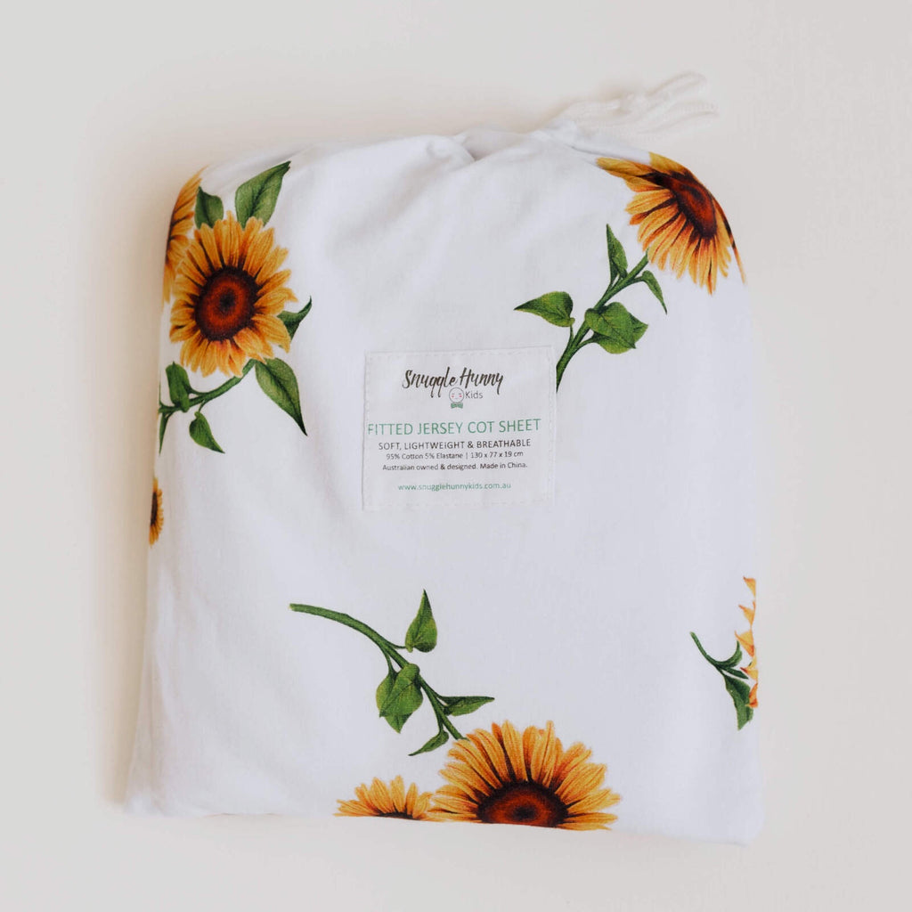 SNUGGLE HUNNY SUNFLOWER FITTED COT SHEET
