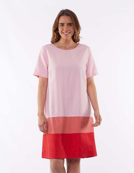 ELM ROSIE PANEL DRESS - OMBRE PINK