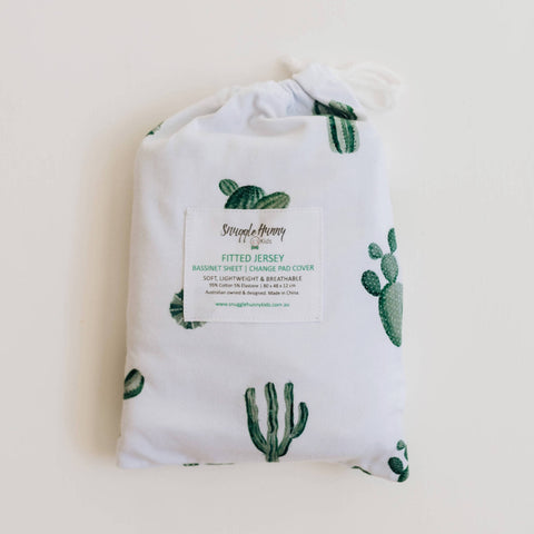 SNUGGLE HUNNY CACTUS BASSINET SHEET/CHANGE PAD COVER