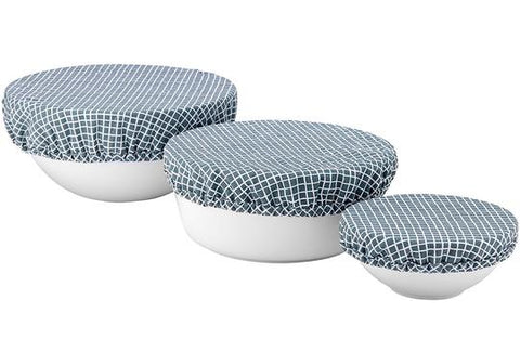 LADELLE GREEN CHECK BOWL COVERS - 3PK