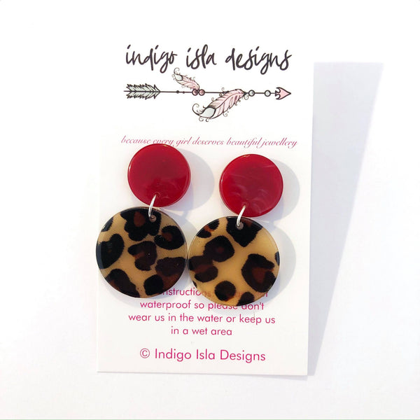 INDIGO ISLA DOUBLE CIRCLE STUD EARRINGS