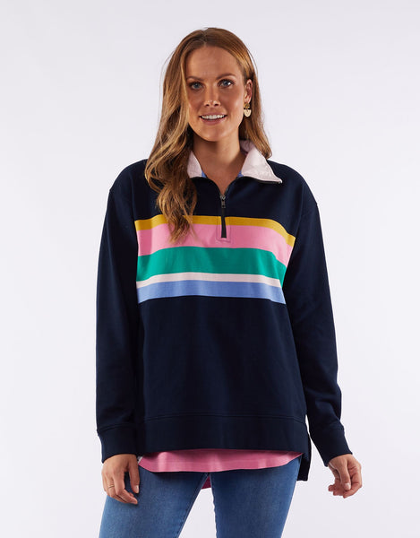 ELM MY CRUSH ZIP NECK FLEECE - NAVY