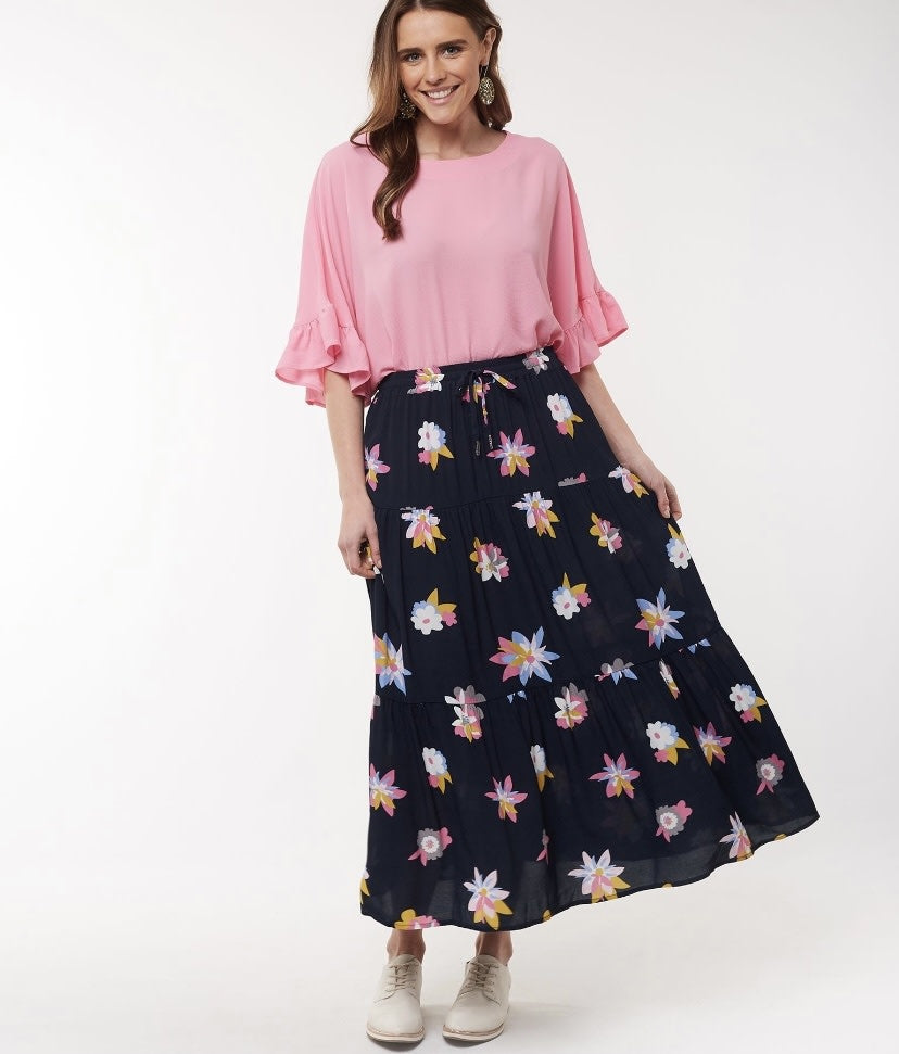 ABRTRACT FLORAL SKIRT NAVY
