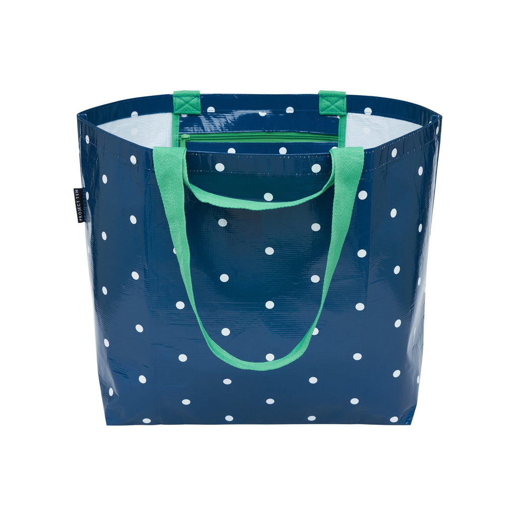 NAVY MICRO DOT MEDIUM TOTE