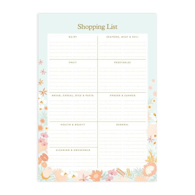 Floribunda A5 Shopping List Magnet Notepad