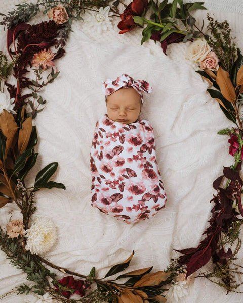SNUGGLE HUNNY FLEUR SNUGGLE SWADDLE AND TOP KNOT SET