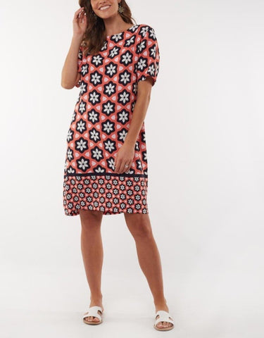 ELM GEO FLORAL SHIFT DRESS