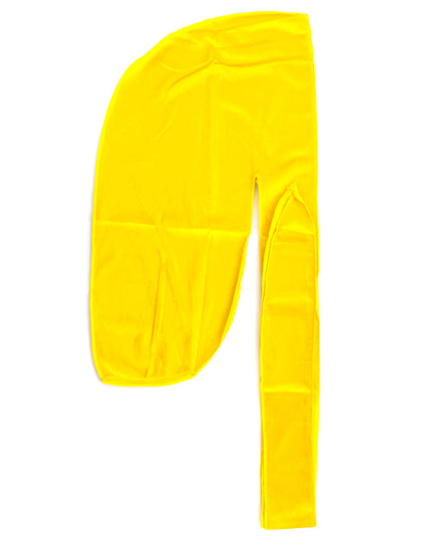 Yellow Velvet Color Du Rag- Premium Quality-Wave Cap
