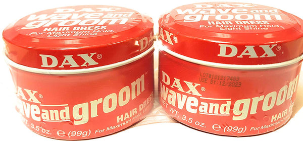 2 Pack Pomade Hair Styling Dax Wave And Groom Hair Dress 3.5 oz (Shrink wrapped)