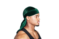 Green Velvet Color Du Rag- Premium Quality-Wave Cap