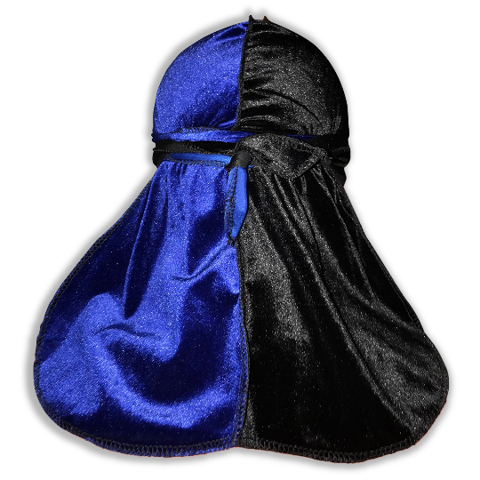 Two tone Velvet Blue and Black Du Rag- Premium Quality-Wave Cap