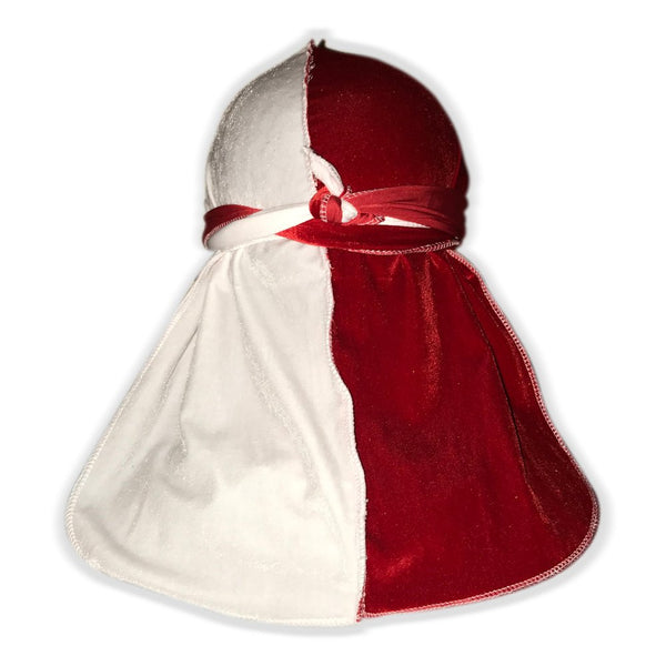 Red and White Two Tone Velvet Color Du Rag- Premium Quality-Wave Cap
