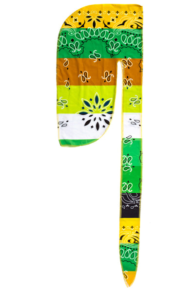 Yellow and Green  Bandana Print Du Rag- Premium Quality-Wave Cap