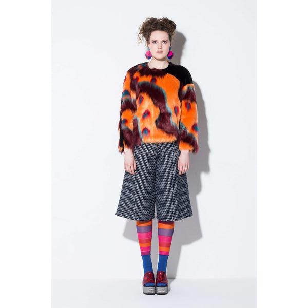 The Officer Faux Fur Top-Orange Desert Black | artisans.global