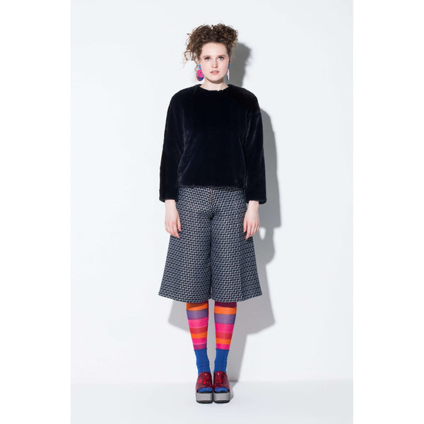 Officer Faux Fur Top-Dark Blue and Black Colour Block| artisans.global