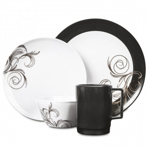 16 Piece Melamine Dinner Set - French Swirl
