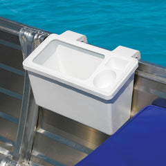 BAIT AND STORAGE BIN WITH CUP HOLDER