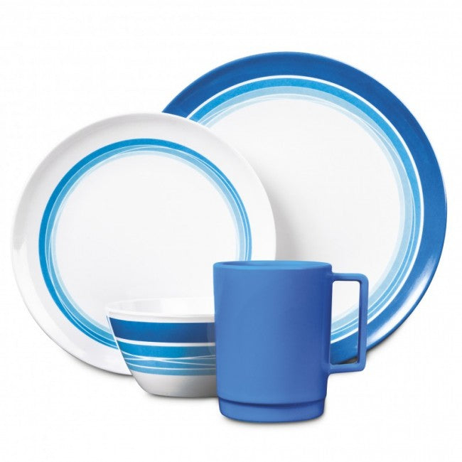 16 Piece Melamine Set - Ocean Blue