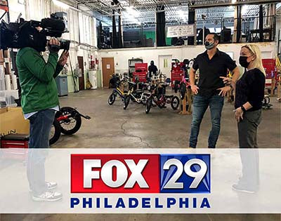 Giving Tuesday with Fox 29 and Jason Kraft of Electric Bike Technologies. title=