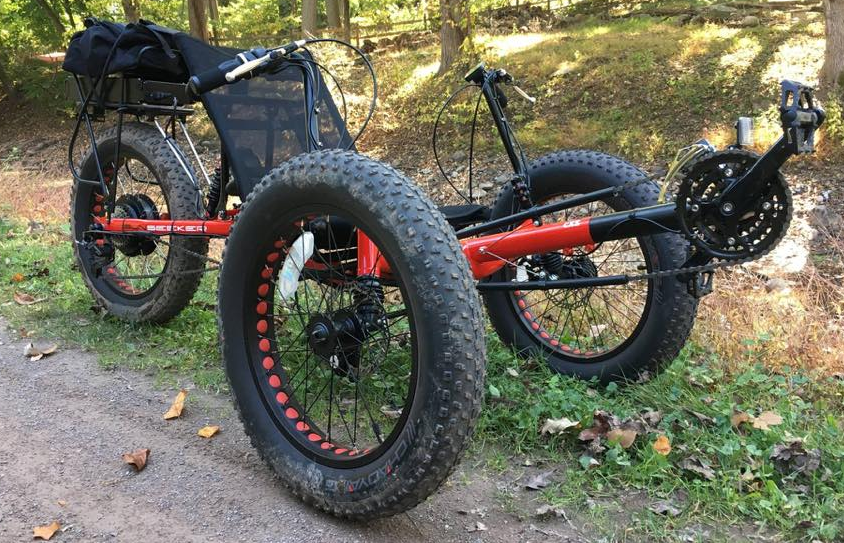 SUN Seeker Fat-Tad Recumbent Trike converted with an E-BikeKit Conversion Kit System title=