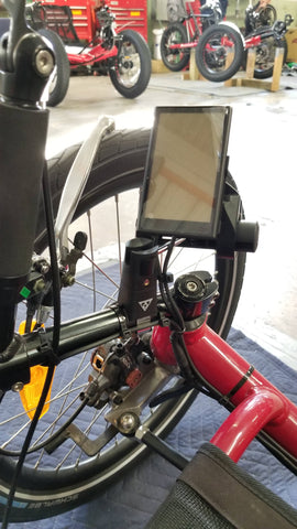 E-BikeKit LCD Dashboard mounted with Topeak bar Extender