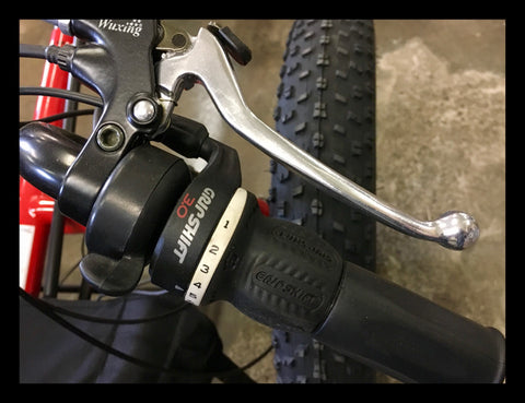 To park the the trike, use the locking parking e-brake levers