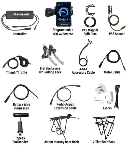 E-BikeKit includes these parts and extras for Catrike