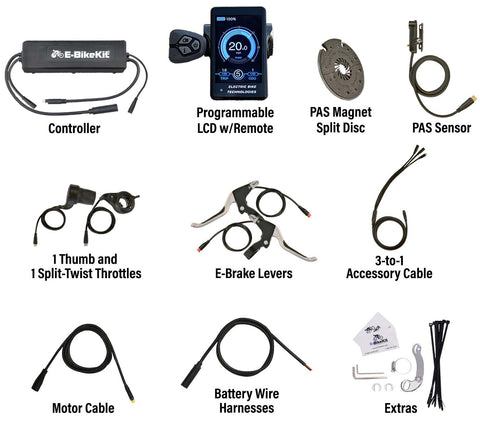 E-BikeKit includes these parts and extras for fat bike rear wheel with no battery
