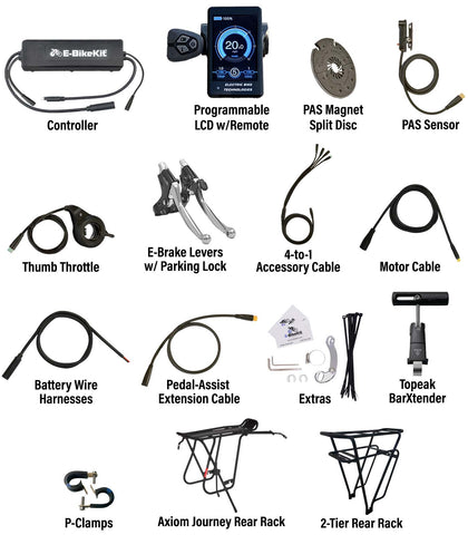 E-BikeKit includes these parts and extras for Heavy-Duty Recumbent Kit