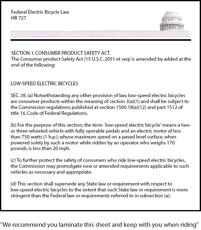 United States Electric Bicycle Law