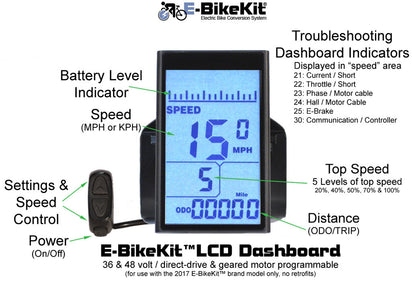 E-BikeKit™ Programmable LCD Dashboard w/ PAS (pedal-assist)