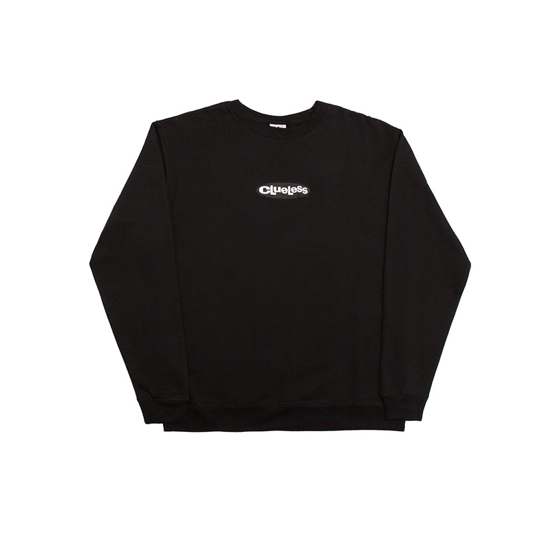 CLUELESS EMBROIDERED CREW BLACK